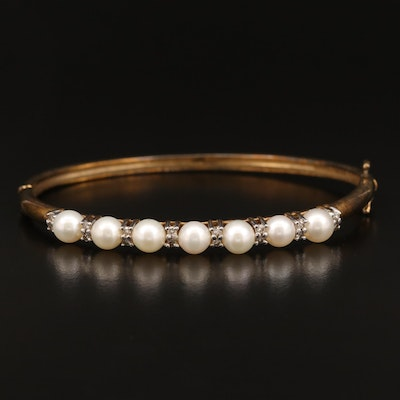 10K Pearl and Diamond Hinged Bangle