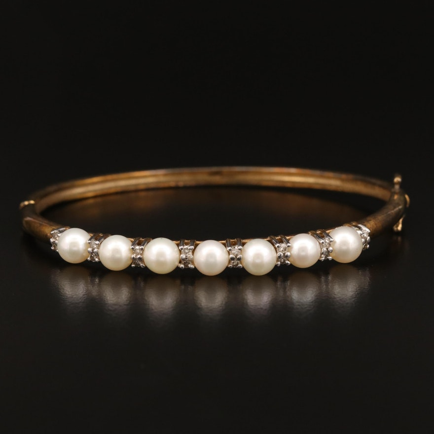 10K Pearl and Diamond Hinged Bangle