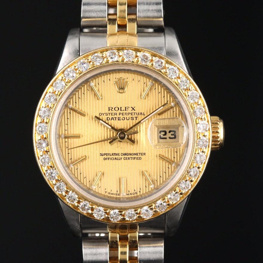 1993 Rolex Datejust 18K and Stainless Steel Diamond Bezel Automatic Wristwatch