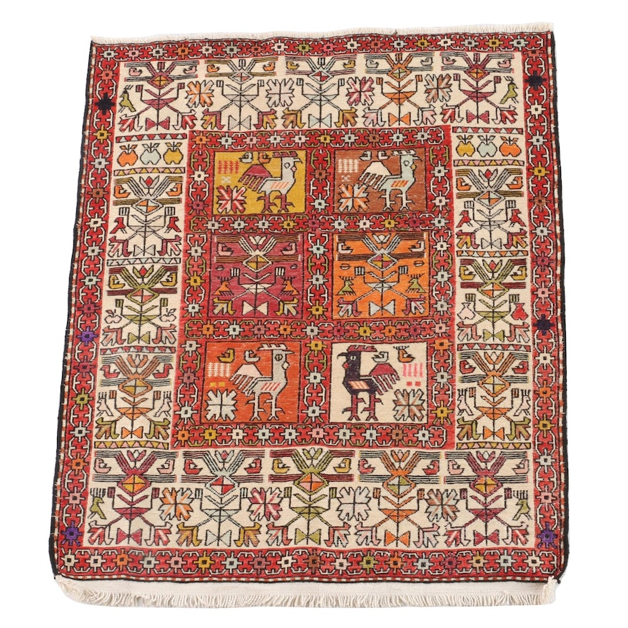 2'6 x 3'3.5 Hand-Knotted Persian Soumak Pictorial Silk Rug