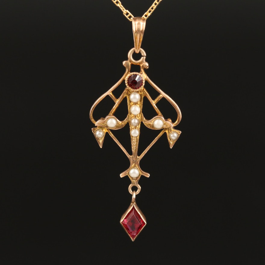 Arts and Crafts 10K Lavalier Pendant on 14K Chain Necklace