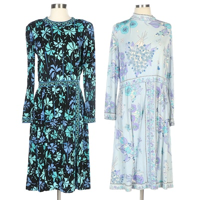 Averardo Bessi Silk Jersey Floral Print Dresses for Bonwit Teller and Saks