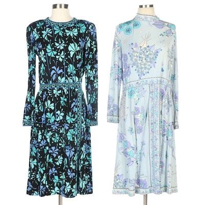 Averardo Bessi Silk Jersey Floral Print Dresses for Bonwit Teller and Saks