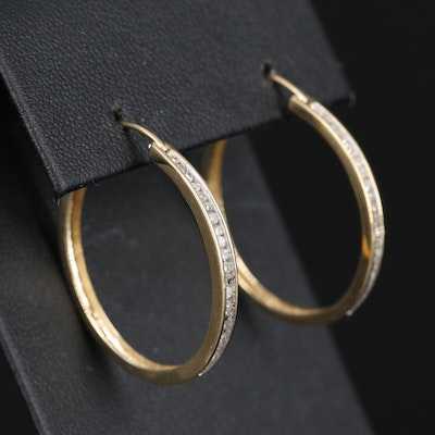 14K Channel Set Diamond Hoop Earrings