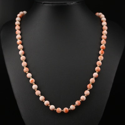 Endless 14K Coral Bead Necklace
