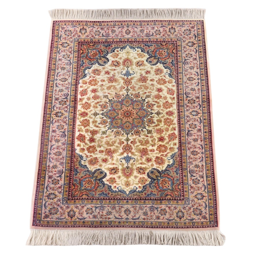 3'5 x 5'7 Hand-Knotted Persian Isfahan Wool Rug