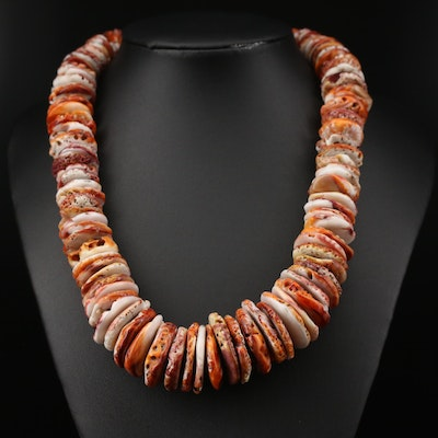 Graduated Coral Necklace with Turquoise Accents and Sterling Silver Clasp