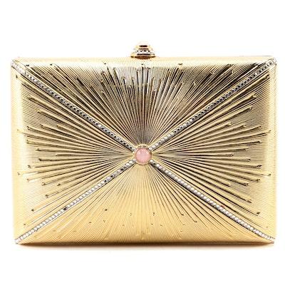 Judith Leiber Crystal and Rose Quartz Embellished Gold Tone Starburst Minaudière