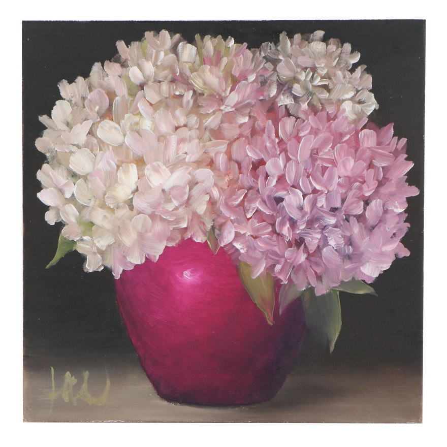 """Thuthuy Tran Oil Painting """"Pink and White Hydrangeas,"""" 2020"""