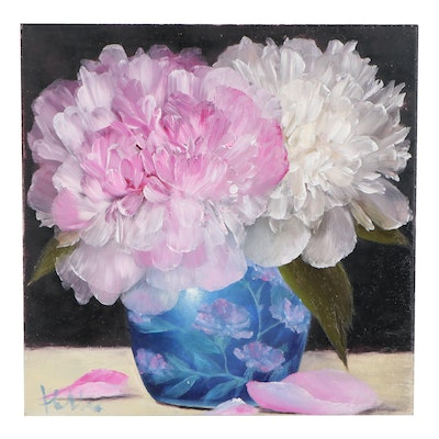 "Thuthuy Tran Oil Painting ""Peonies and Blue Vase,"" 2020"