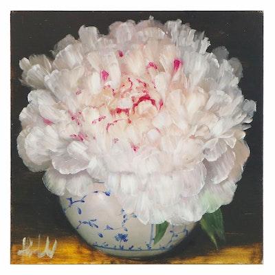 "Thuthuy Tran Oil Painting ""White Peonies, White Vase,"" 2020"