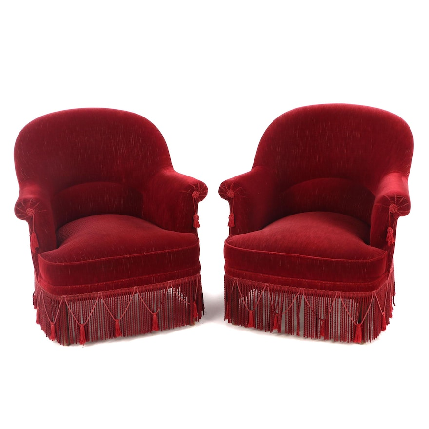 Pair of Red Velvet and Bullion Fringe Tub Chairs, Mid to Late 20th Century