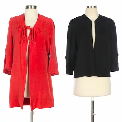Jenny Red Terry Cloth Jacket and Gloria Knitwear Black Open Front Cardigan