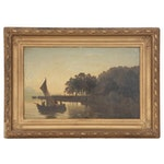 Rudolf Petereit Oil Painting of River Landscape with Sailboat, 19th Century