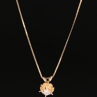 14K 0.24 CT Buttercup Set Diamond Solitaire Necklace