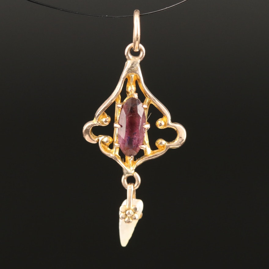 Ostby and Barton Jewelry Co. Art Nouveau 10K Pearl Lavalier Pendant