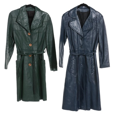 Two Button-Front Trench Coats in Navy Blue and Forest Green Leather