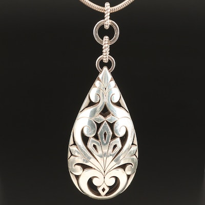 Scroll Patterned Openwork Pendant on Sterling Silver Snake Chain