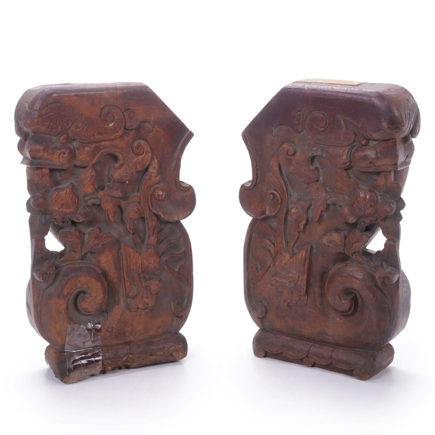 Chinese Style Phoenix and Peony Carved Wood Furniture Elements