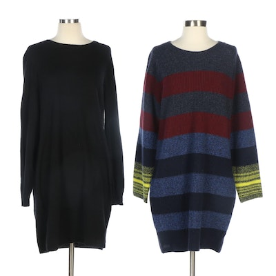 Polo Ralph Lauren Black Cashmere and Lacoste Wool Striped Sweater Dresses
