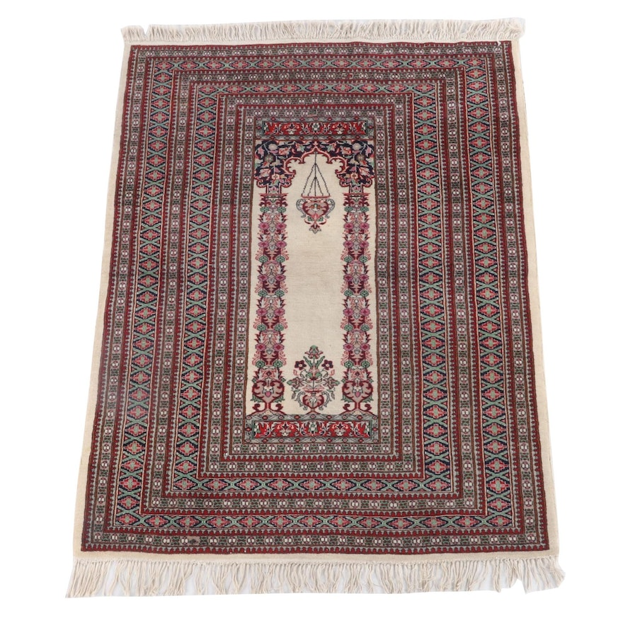 4'3.5 x 6'5 Hand-Knotted Persian Mehrab Qum Wool Prayer Rug