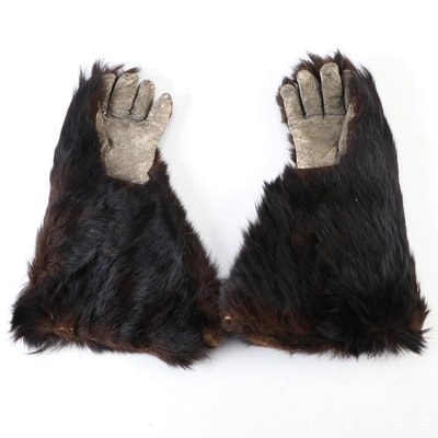 Black Bear Fur and Leather Gauntlet Gloves