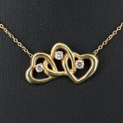 Tiffany & Co. 18K Diamond Triple Interlocking Heart Necklace