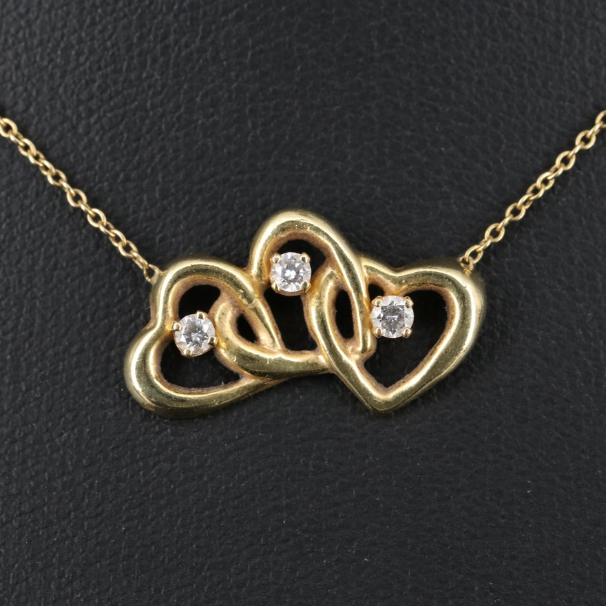 Tiffany & Co. 18K Diamond Triple Interlocking Heart Necklace