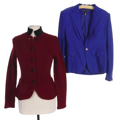 Ralph Lauren Black Label Blue Wool Blazer and Lauren by Ralph Lauren Knit Jacket