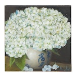 "Thuthuy Tran Oil Painting ""White Hydrangeas,"" 2020"
