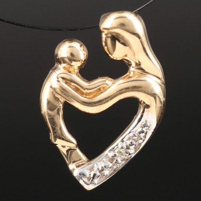 10K Mother and Child Pendant with Diamond Accent