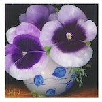 "Thuthuy Tran Oil Painting ""Violet Pansies,"" 2020"