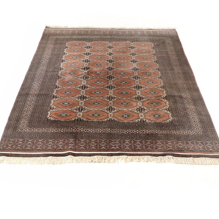 6' x 8'6 Hand-Knotted Pakistani Bokara Turkoman Rug, 1990s