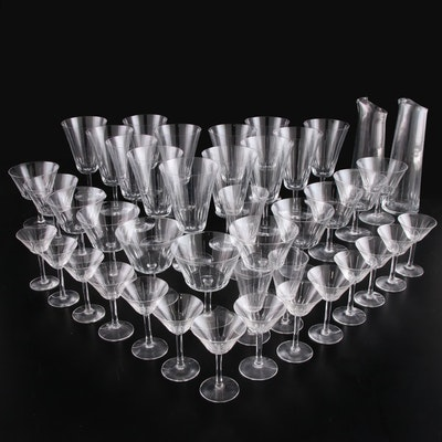 Swedish Modern Style Crystal Stemware and Carafes