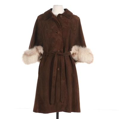 Brown Suede Cape Jacket with Tie Belt and Fox Fur Trim