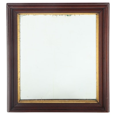 Victorian Walnut and Parcel-Gilt Mirror, Mid to Late 19th Century
