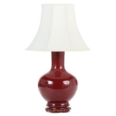 Chinese Sang de Boeuf Vase Table Lamp