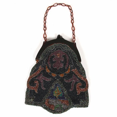 Hand-Beaded Purse with Bakelite
