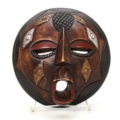"Luba Style ""Baluba"" Wooden Mask with Embellishments, Central Africa"