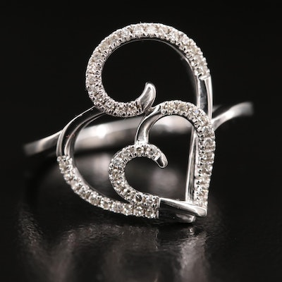 10K Diamond Double Heart Ring