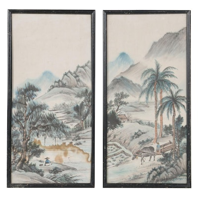 Chinese Watercolor Painting Diptych