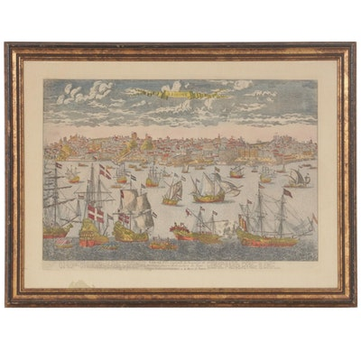 """Hand-Colored after Antoine Aveline Engraving """"Lisbone,"""" 18th Century"""