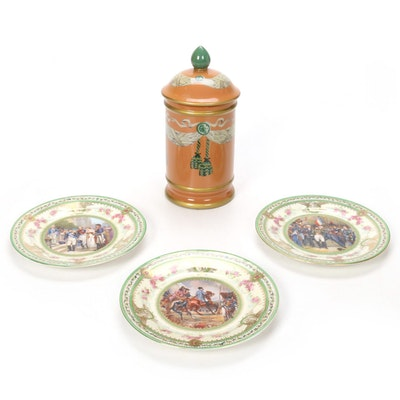 Count Thun Porcelain Factory Napoleon Plates and Ceramic Hand-Painted Canister