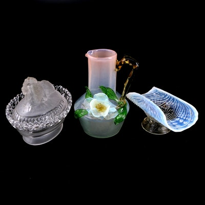 Imperial Glass Co. Lion Covered Glass Dish and Other Glass Tableware