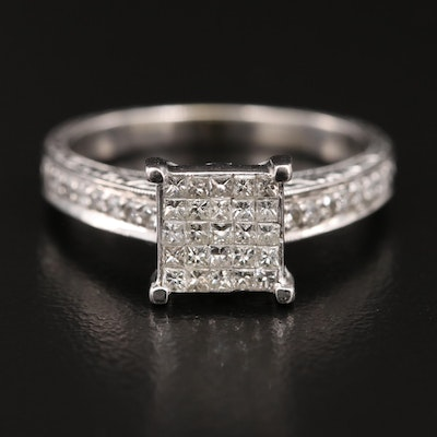 14K Diamond Ring and Shadow Band Set