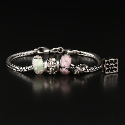 Sterling Silver Charm Bracelet Featuring Lampwork Glass Beads