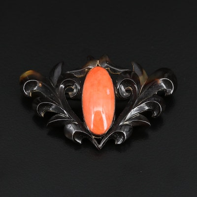 Vintage Coral and Tortoise Shell Brooch