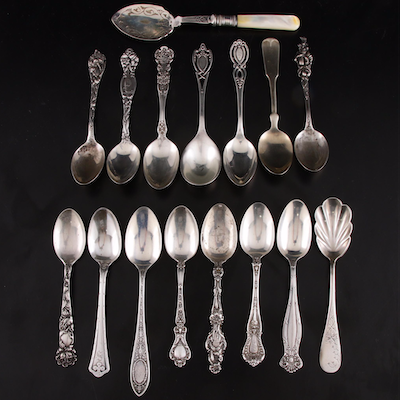 Sterling Silver Tea Spoons with Mother-of-Pearl Handled Serving Spoon