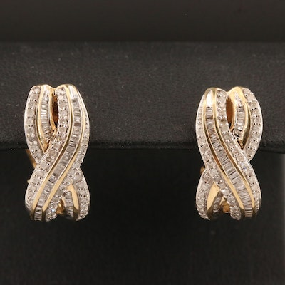 10K Diamond Crossover J-Hoop Earrings