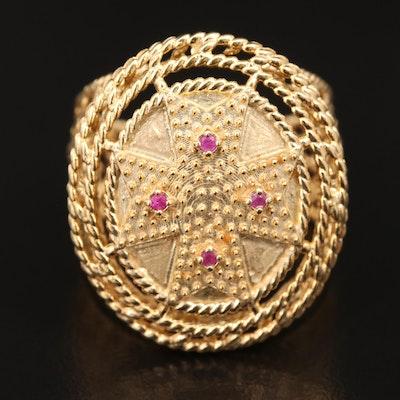 14K Ruby Iron Cross Ring